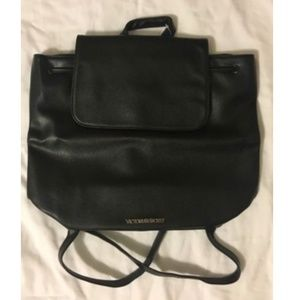 NWT Victoria's Secret Black Leather Backpack